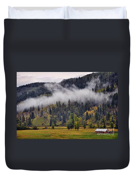 Barn In The Mist Duvet Cover