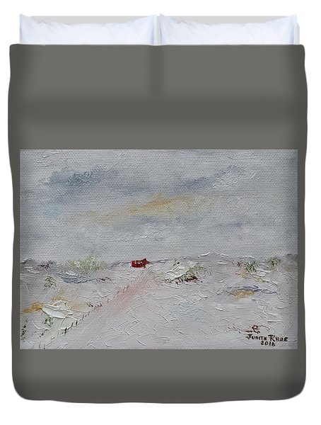 Duvet Cover featuring the painting Barn In Winter by Judith Rhue