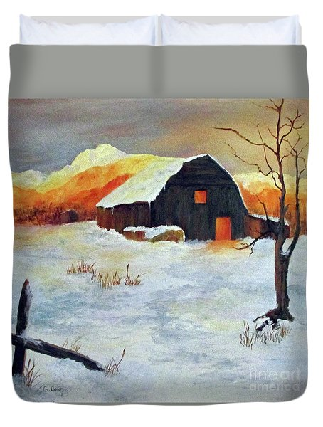Barn In Winter Duvet Cover
