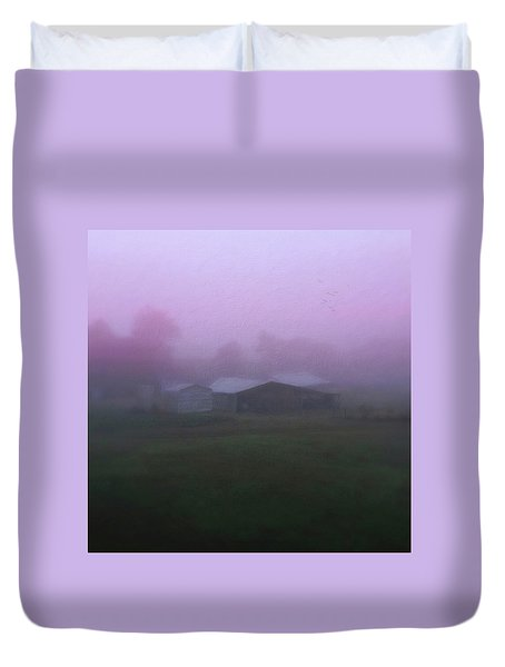 Barn On A Misty Morning Duvet Cover