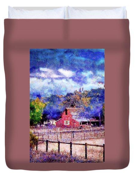 Barn On Ca Highway 154 Duvet Cover by Joseph Hollingsworth