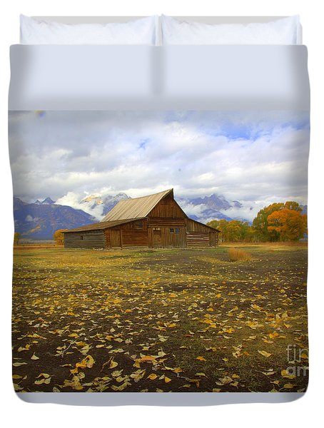Barn On Mormon Row Utah Duvet Cover