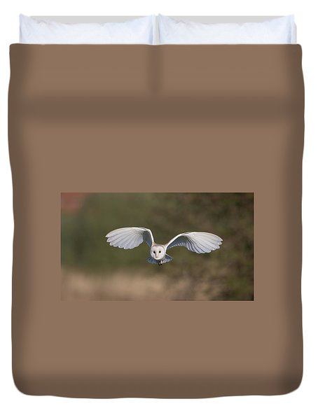 Barn Owl Approaching Duvet Cover