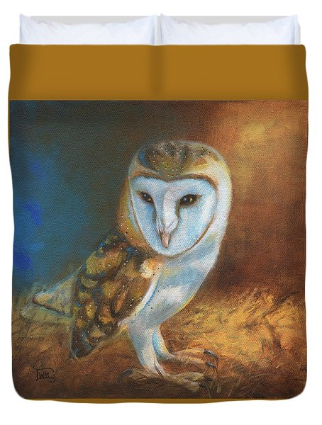 Barn Owl Blue Duvet Cover