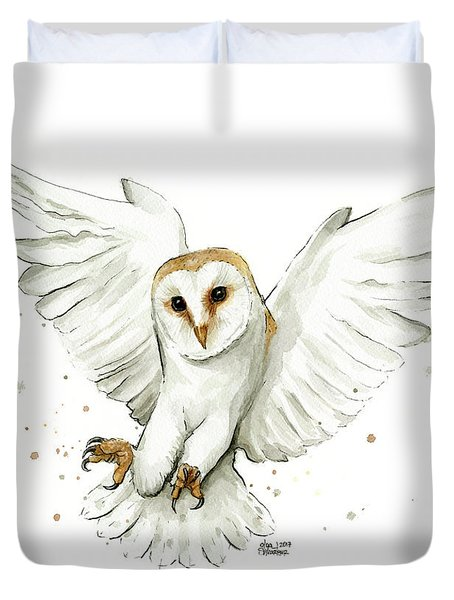 Barn Owl Flying Watercolor Duvet Cover