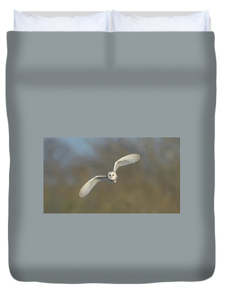 Barn Owl Hunting In Worcestershire Duvet Cover