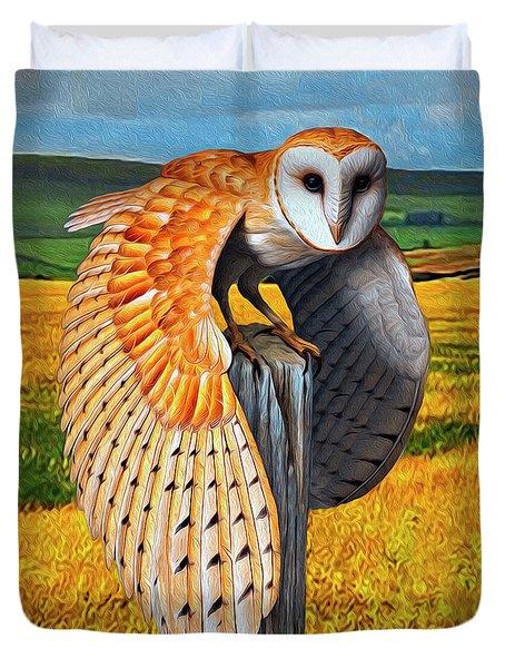 Barn Owl On Old Fence Post Duvet Cover