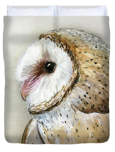 Barn Owl Watercolor Duvet Cover