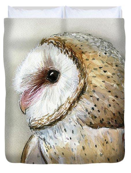 Barn Owl Watercolor Duvet Cover by Olga Shvartsur