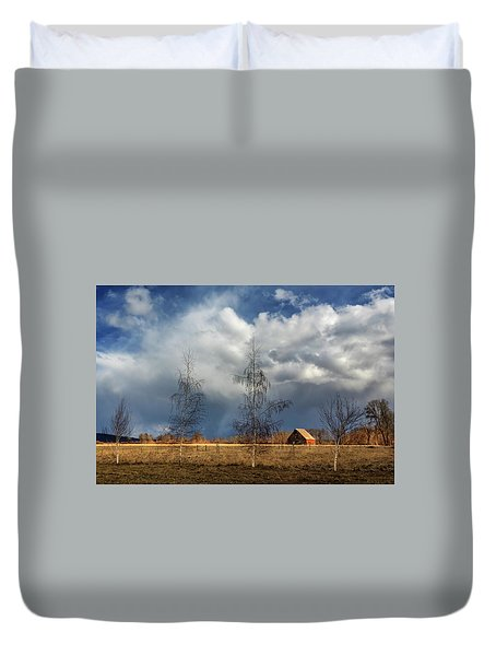 Duvet Cover featuring the photograph Barn Storm by James Eddy