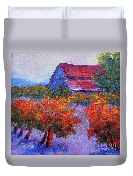 Barn Vineyard Autumn Duvet Cover