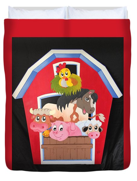 Barn With Animals Duvet Cover