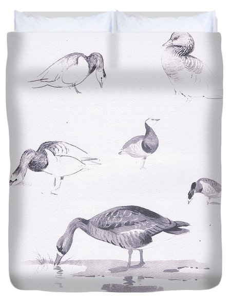 Barnacle And White Fronted Geese Duvet Cover by Archibald Thorburn