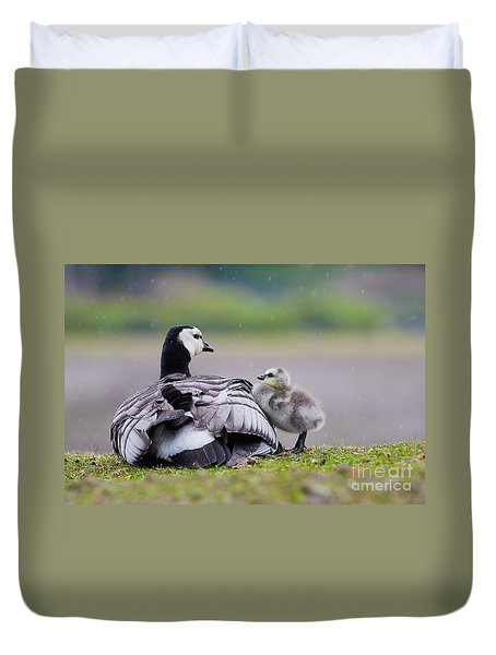 Barnacle Goose With Chick In The Rain Duvet Cover