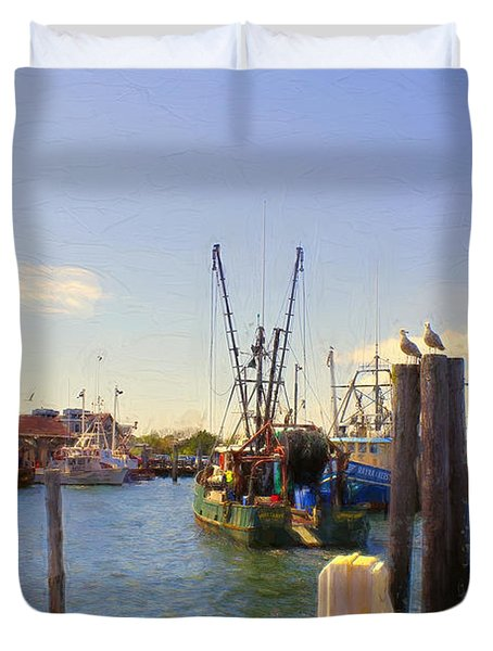 Barnegat Light Fishing Fleet Duvet Cover by John Rivera