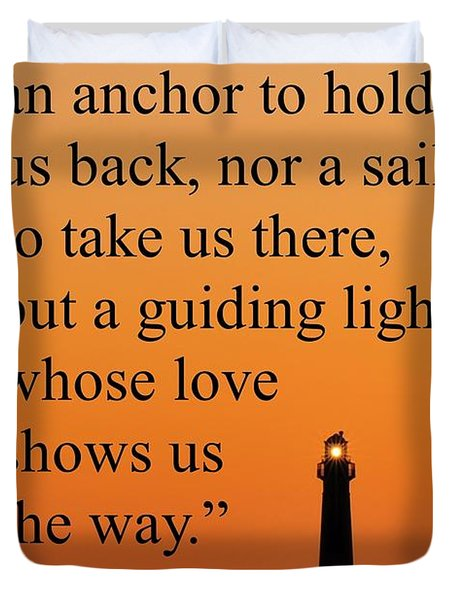 Barnegat Lighthouse With Father Quote Duvet Cover