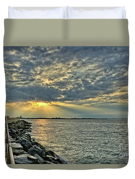 Barneget Lighthouse  New Jersey Duvet Cover