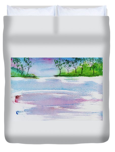 Gum Trees Frame The Sunset At Barnes Bay Duvet Cover
