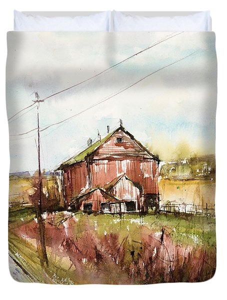 Barns And Electric Poles, Sunday Drive Duvet Cover by Judith Levins