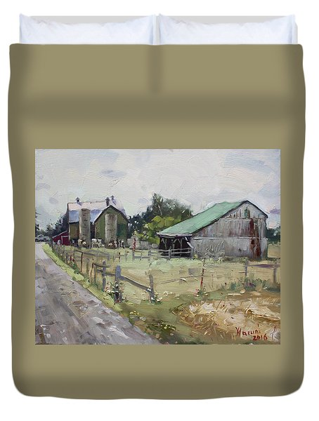 Barns And Old Shack In Norval Duvet Cover