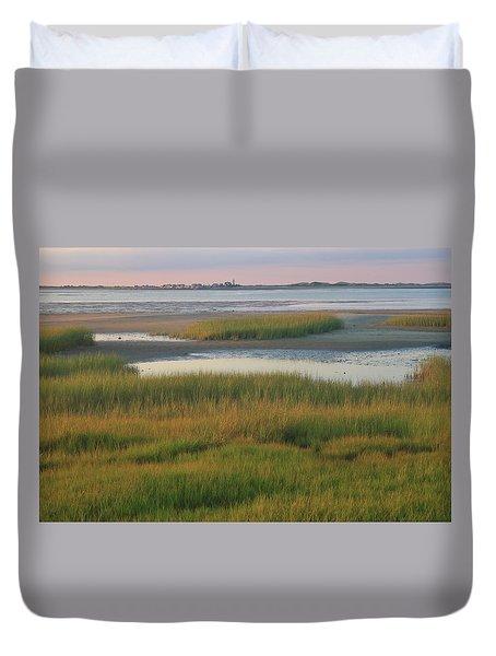 Barnstable Harbor Marsh Grasses And Sandy Neck Lighthouse Duvet Cover