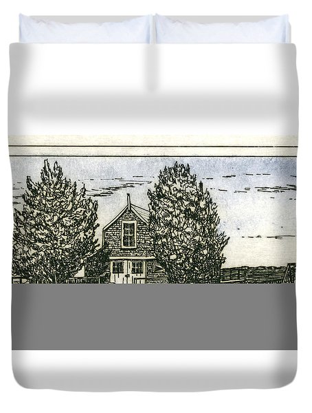 Duvet Cover featuring the mixed media Barnstable Yacht Club Etching by Charles Harden