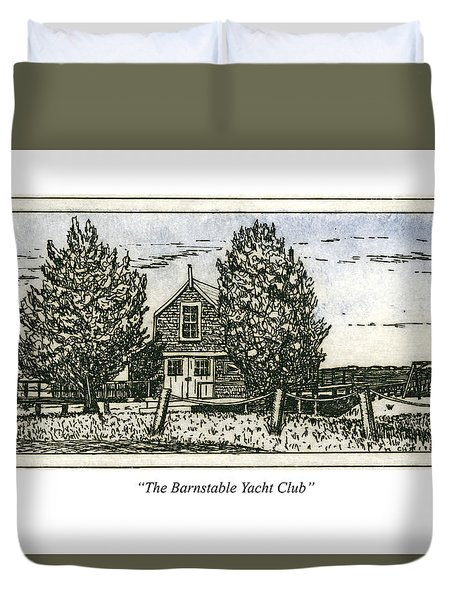 Duvet Cover featuring the mixed media Barnstable Yacht Club Greeting Card by Charles Harden
