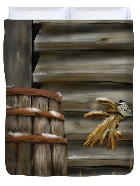 Duvet Cover featuring the digital art Barnyard Barrel And Chickadee by Darren Cannell