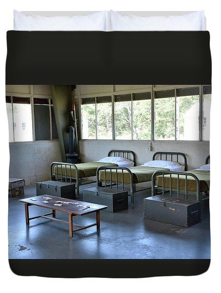 Duvet Cover featuring the photograph Barrack Interior At Fort Miles - Delaware by Brendan Reals
