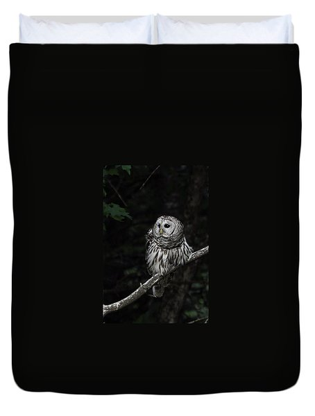 Duvet Cover featuring the photograph Barred Owl 2 by Glenn Gordon