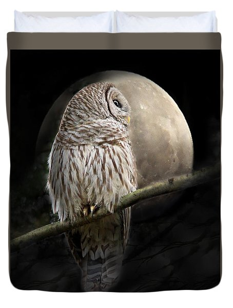 Barred Owl Moon Glow Duvet Cover