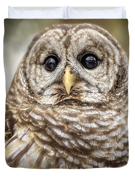 Duvet Cover featuring the photograph Hoot by Steven Sparks