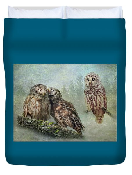 Barred Owls - Steal A Kiss Duvet Cover