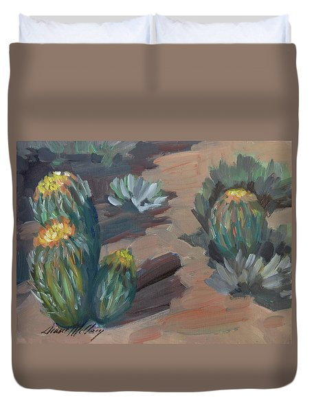 Duvet Cover featuring the painting Barrel Cactus At Tortilla Flat by Diane McClary