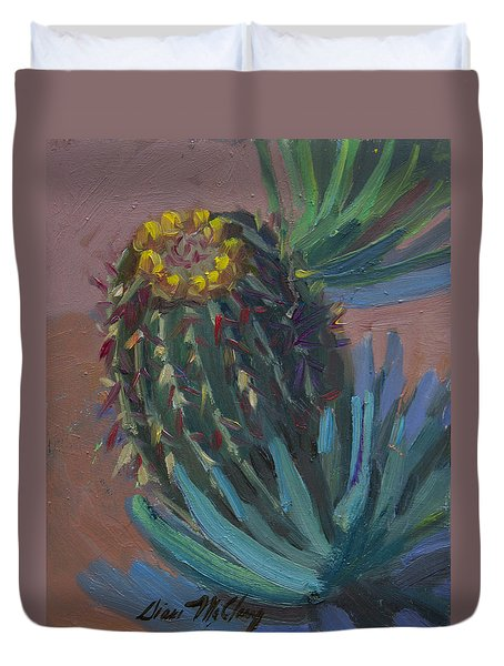 Barrel Cactus In Bloom - Boyce Thompson Arboretum Duvet Cover by Diane McClary