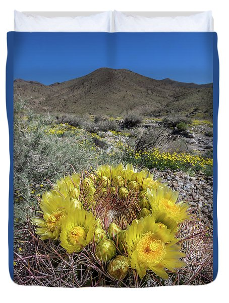 Duvet Cover featuring the photograph Barrel Cactus Super Bloom by Peter Tellone