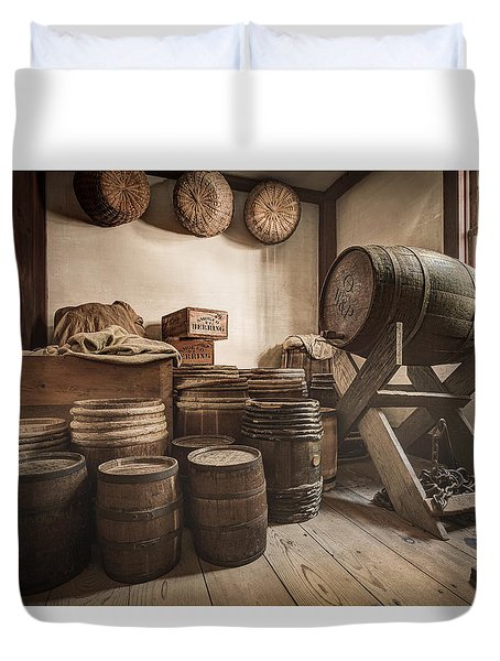 Duvet Cover featuring the photograph Barrels By The Window by Gary Heller