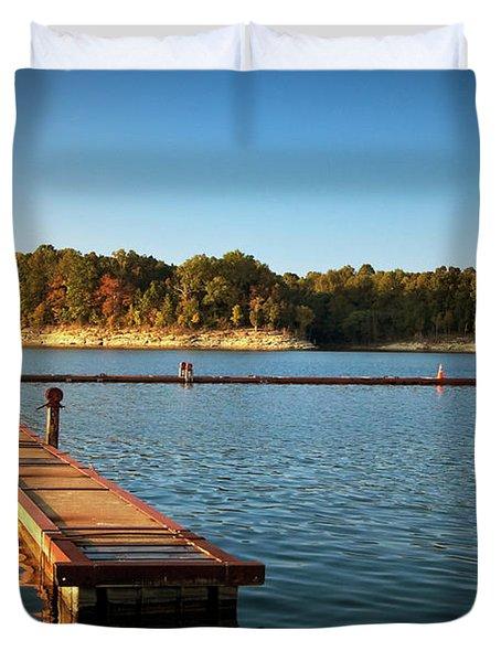 Barren River Lake Dock Duvet Cover