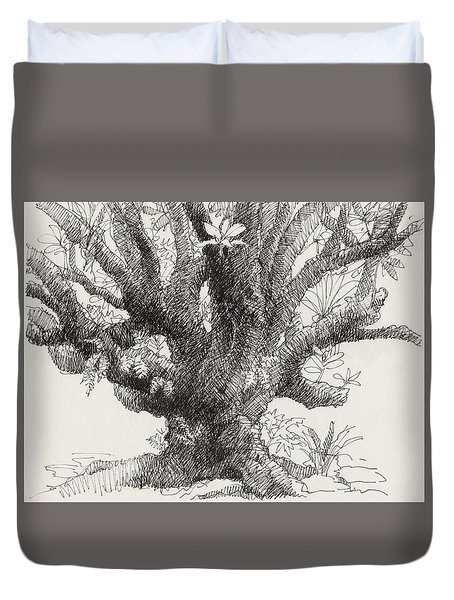 Duvet Cover featuring the drawing Barringtonia Tree by Judith Kunzle