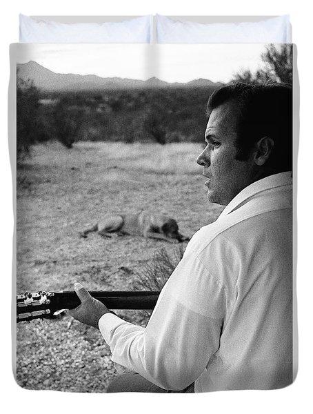 Barry Sadler With Guitar 4 Tucson  Arizona 1971. Duvet Cover