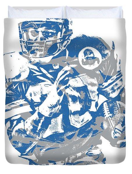 Barry Sanders Detroit Lions Pixel Art 2 Duvet Cover