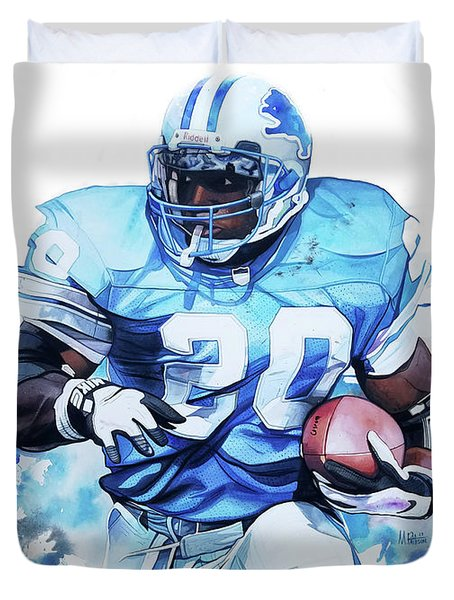 Barry Sanders Gridiron Greats Duvet Cover