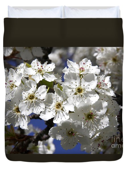 Bradford Pear Blossoms Duvet Cover