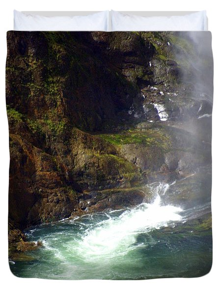 Base Of The Falls 1 Duvet Cover by Marty Koch