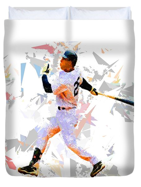 Duvet Cover featuring the painting Baseball 25 by Movie Poster Prints