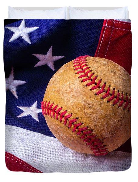 Baseball And American Flag Duvet Cover