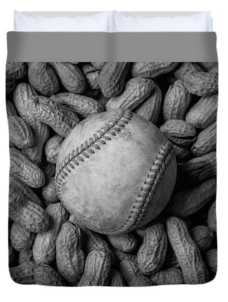 Duvet Cover featuring the photograph Baseball And Peanuts Black And White Square  by Terry DeLuco