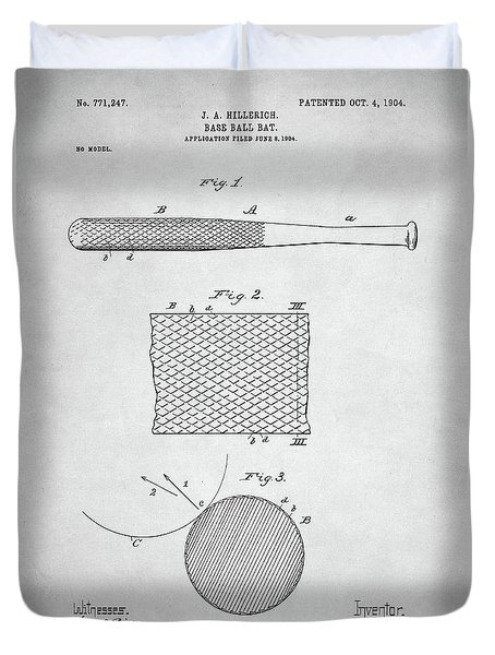 Baseball Bat Patent Duvet Cover by Taylan Apukovska