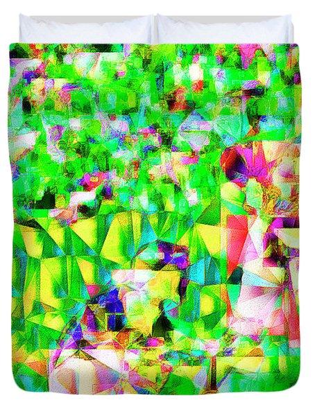 Baseball Batter Sluuger In Abstract Cubism 20170329 Duvet Cover