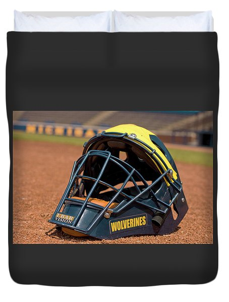 Baseball Catcher Helmet Duvet Cover